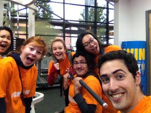 It's ace to see @EmMassari and friends providing support whilst one of their team is busy exercising at the Sugden Sports Centre!