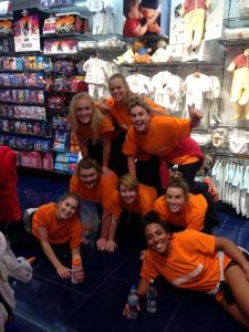 A top effort from our very own netball team to make this human pyramid in the Disney store!