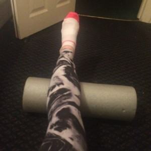 Alice's leg on the foam roller